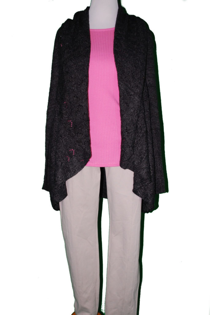 Karen Scott sweater, 2X, $54.50, $15, Ralph Lauren top, $34, $12, INC pants, 16, $59.50, $15