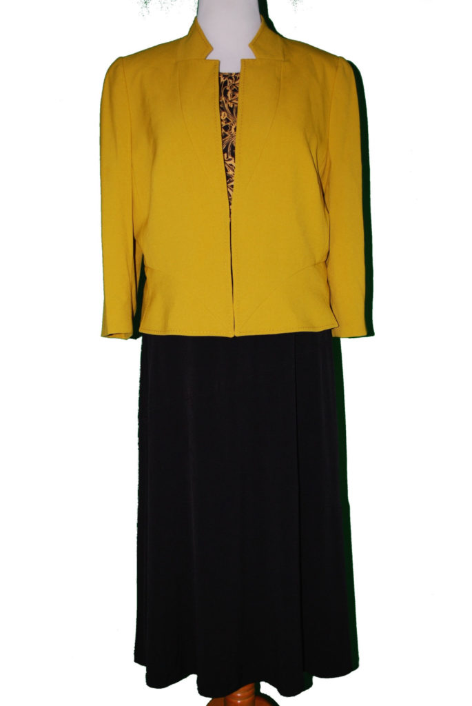 Laundry top, 14, $69, $15, Tahari jacket, 18, $139, $39, JM collection skirt, 0X, $54.50, $15