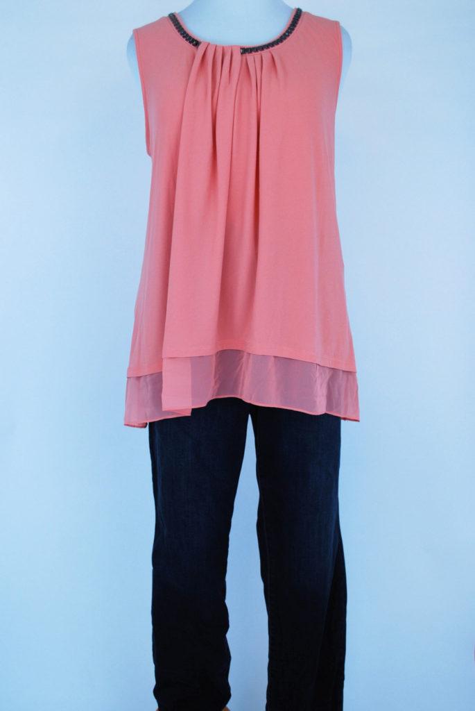 Alfani top, 3X, $65.50, $15, Style & Co jeans, 18W, $69.50, $15