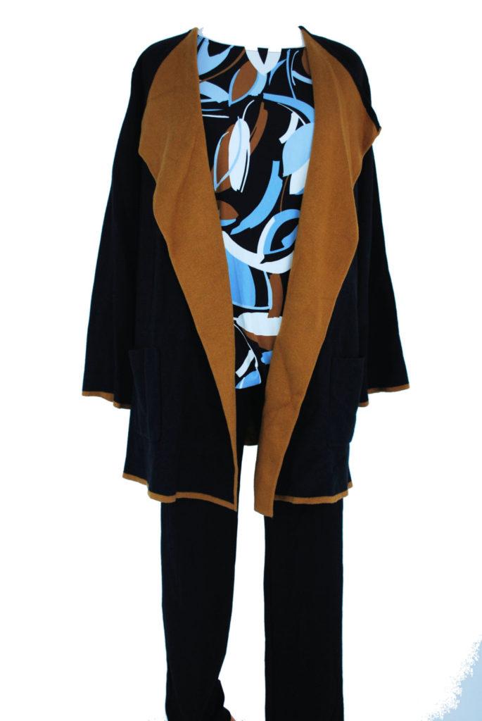 Alfani top, 3X, $70.50, $20, Alfani sweater, 3X, $109, $28, Charter Club pants, 18W, $69.50, $15 (1)