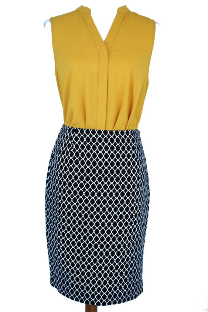 Alfani top, 6, $59, $15, Charter Club skirt, 8P, $59, $15