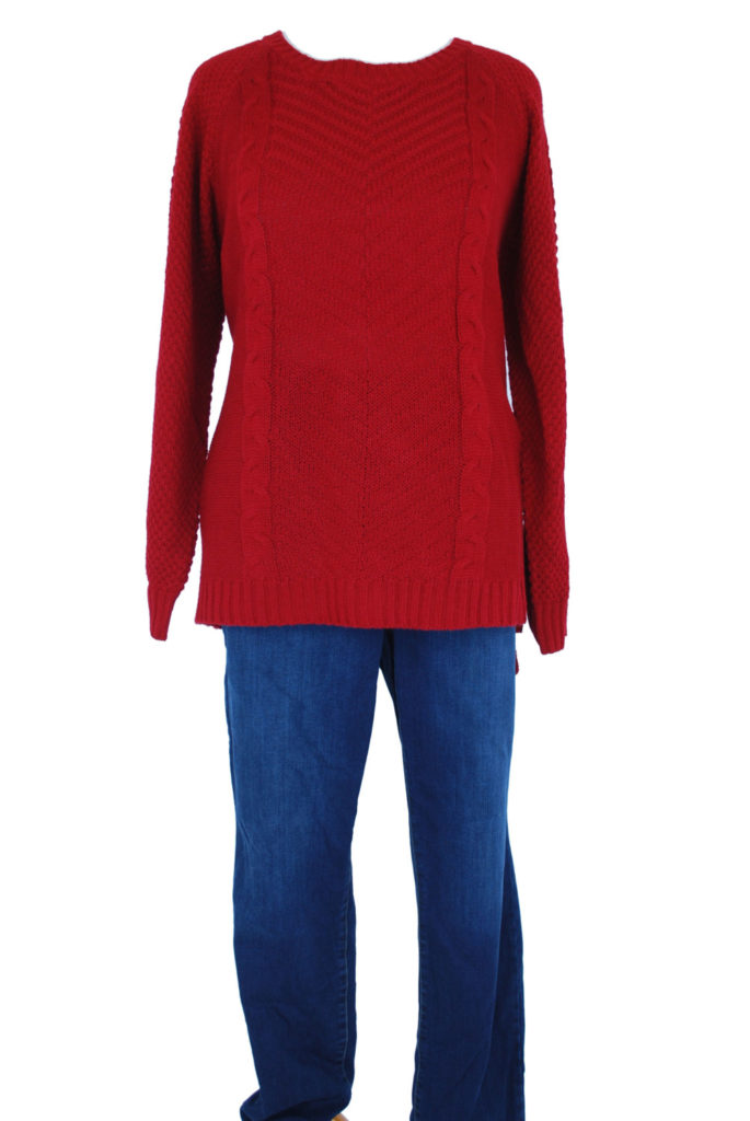 NY Collection sweater, 3X, $59, $15, Style & Co jeans, 18W, $69.50, $15