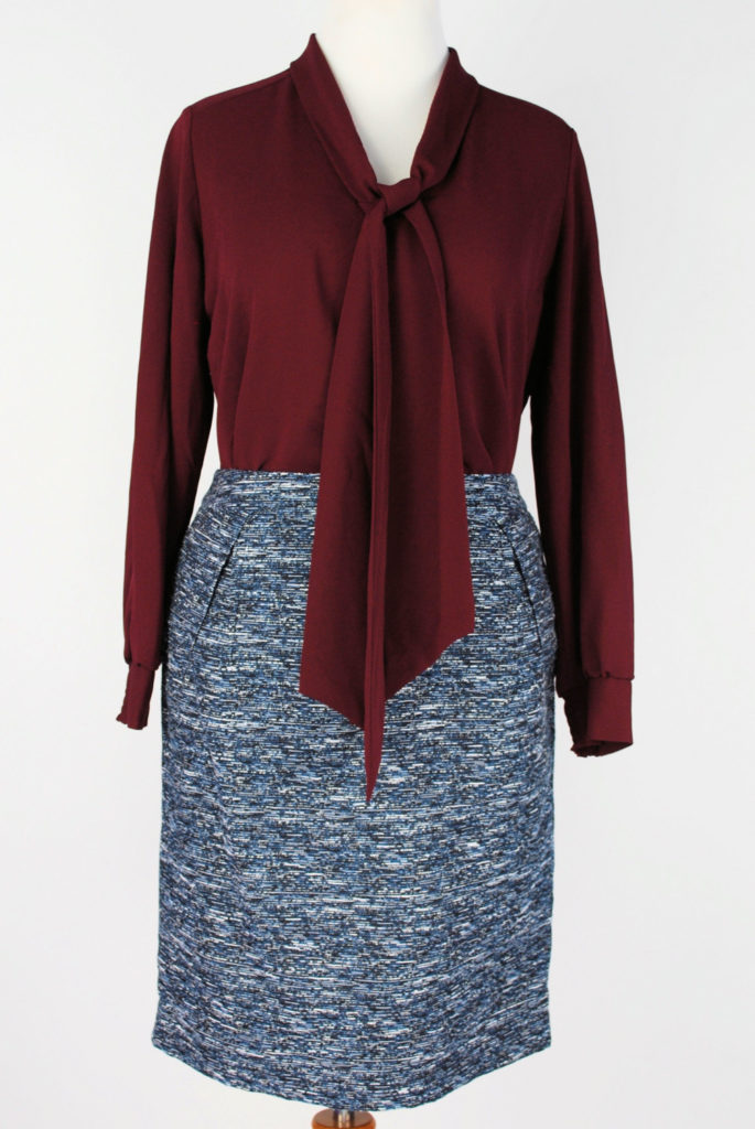 Alfani blouse, 10, $69.50, $15, Tommy Hilfiger skirt, 12, $79, $20