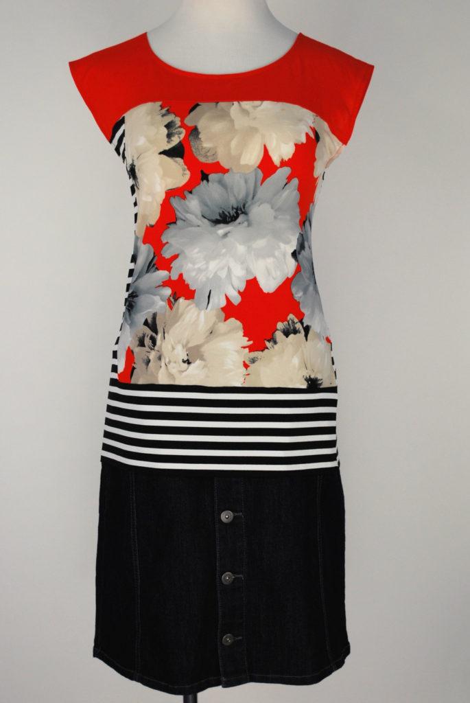 Calvin Klein top, M, $59, $15, Style & Co skirt, S, $49, $12