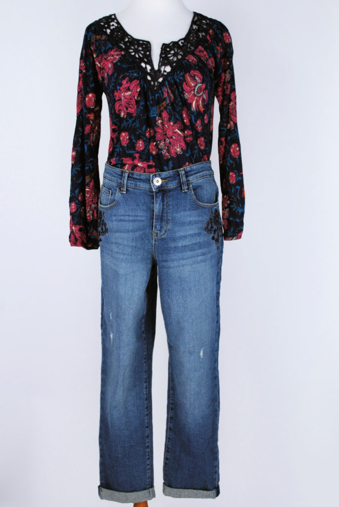 Lucky Brand top, xs, $59.50, $15, Style & Co jeans, 8, $59, $15