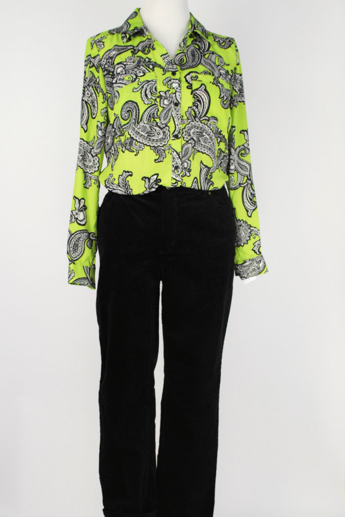 NY Collection blouse, M, $40, $12, Charter Club pants, 14, $59, $15