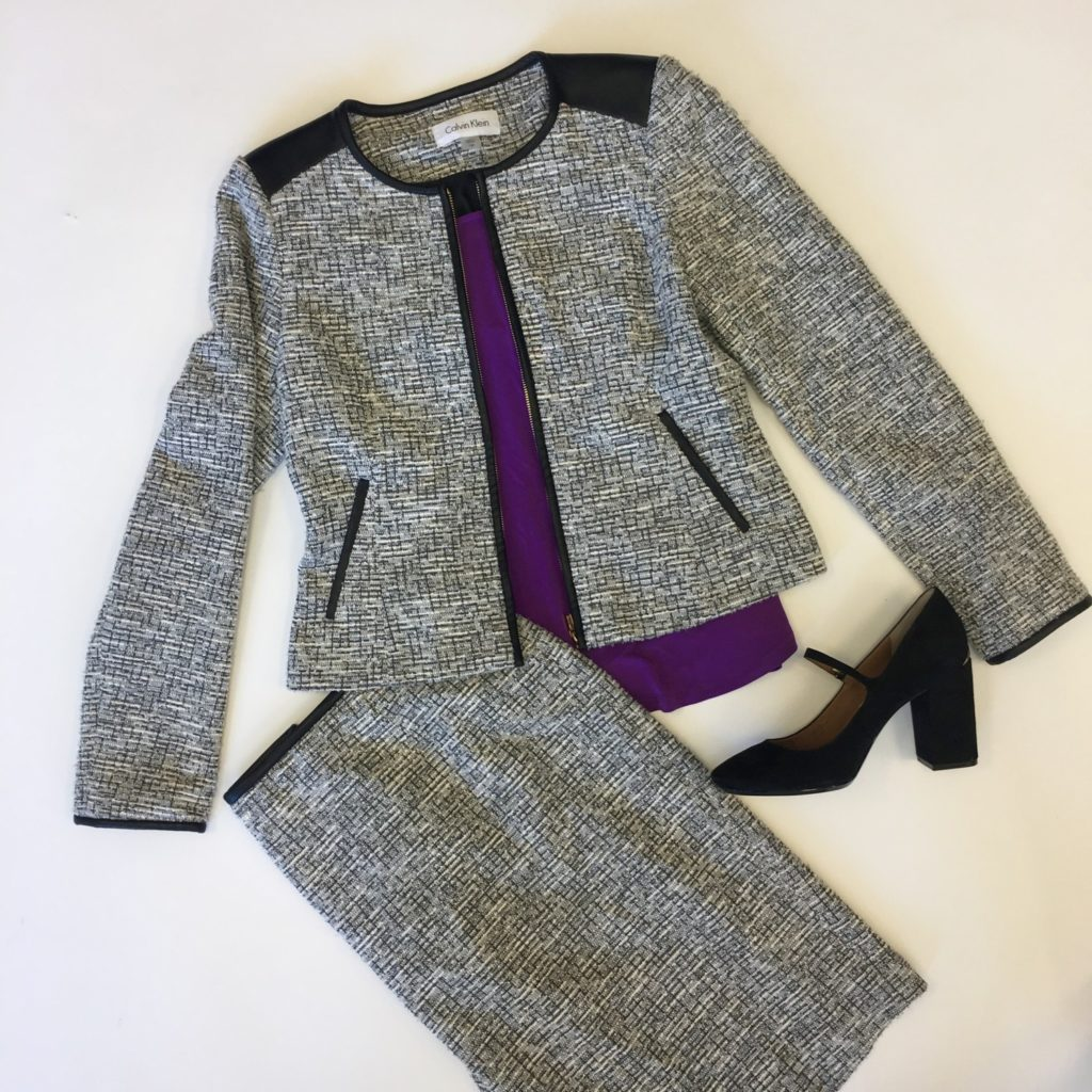 Calvin Klein blazer, 4, $149, $39, Calvin Klein skirt, 2, $89, $20, NY Collection top, S, $50, $15