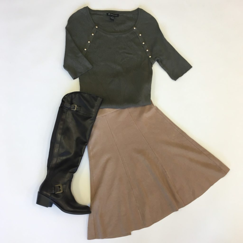 INC top, XL, $59, $15, Alfani skirt, M, $6, $15, Style & Co boots, 6, $109, $39