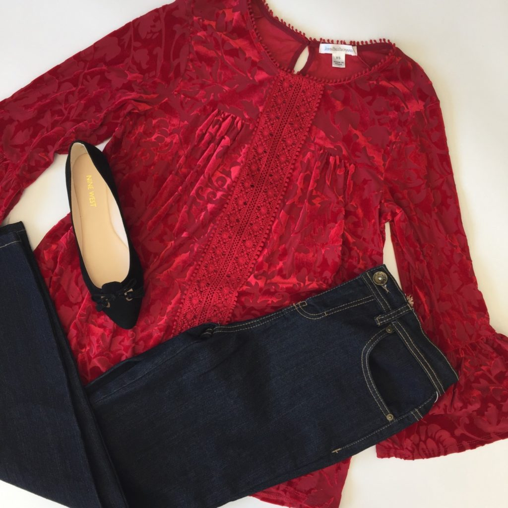 John Paul Richard top, XS, $60, $15, Style & Co jeans, 4, $54, $15, Nine West shoes, 6, $79, $28