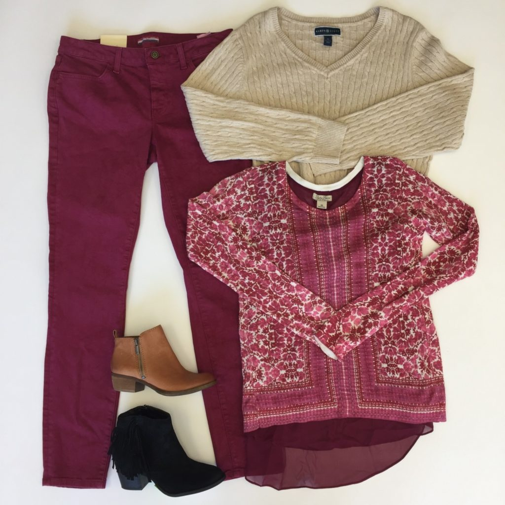 Karen Scott sweater, XL, $46, $12, Lucky Brand top, XS, $79, $20, Tommy Hilfiger jeans, $69, $15,Lucky Brand guess brown booties, 4, $129, $46, Marc Fisher black booties, 6, $129, $46