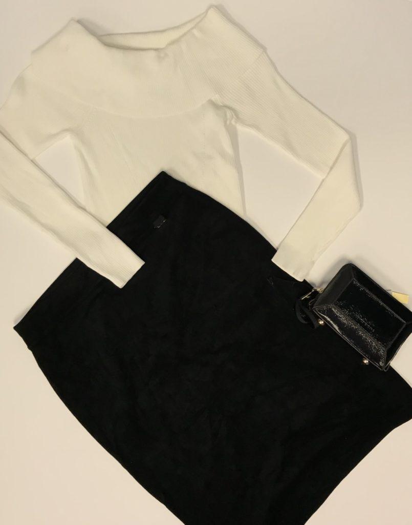 Michael Kors Sweater $98, $20 Calvin Klein Skirt $69.50, $15 Aimee Kestenberg clutch $98, $35