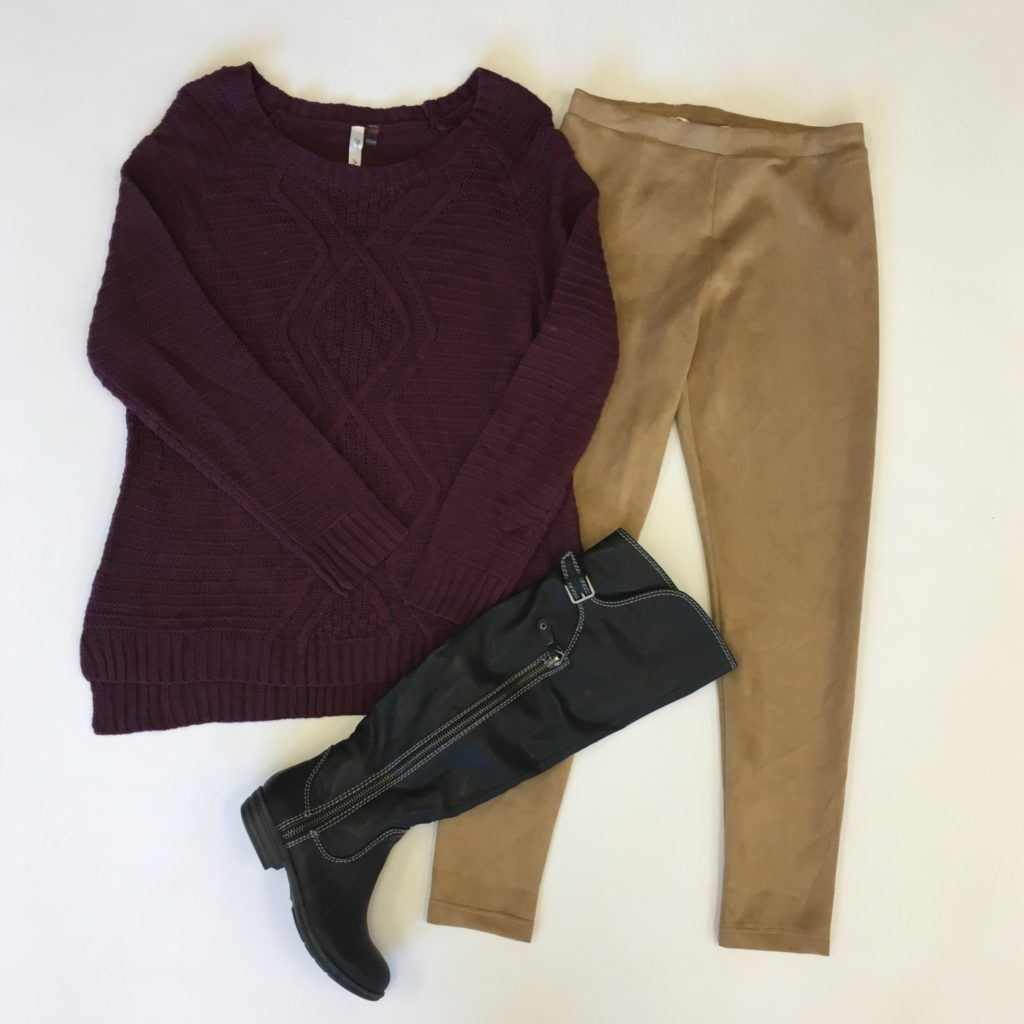 NY Collection, XL, $50, $15, Kensie pants, M, $69, $15, Syle & Co boots, 6, $110, $39