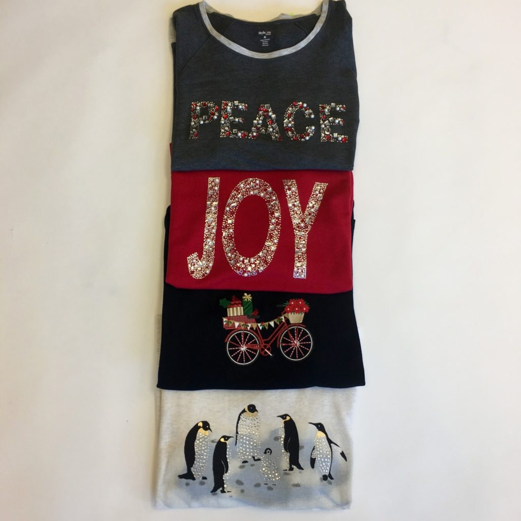 Style & Co X-mas sweaters, $56, $15