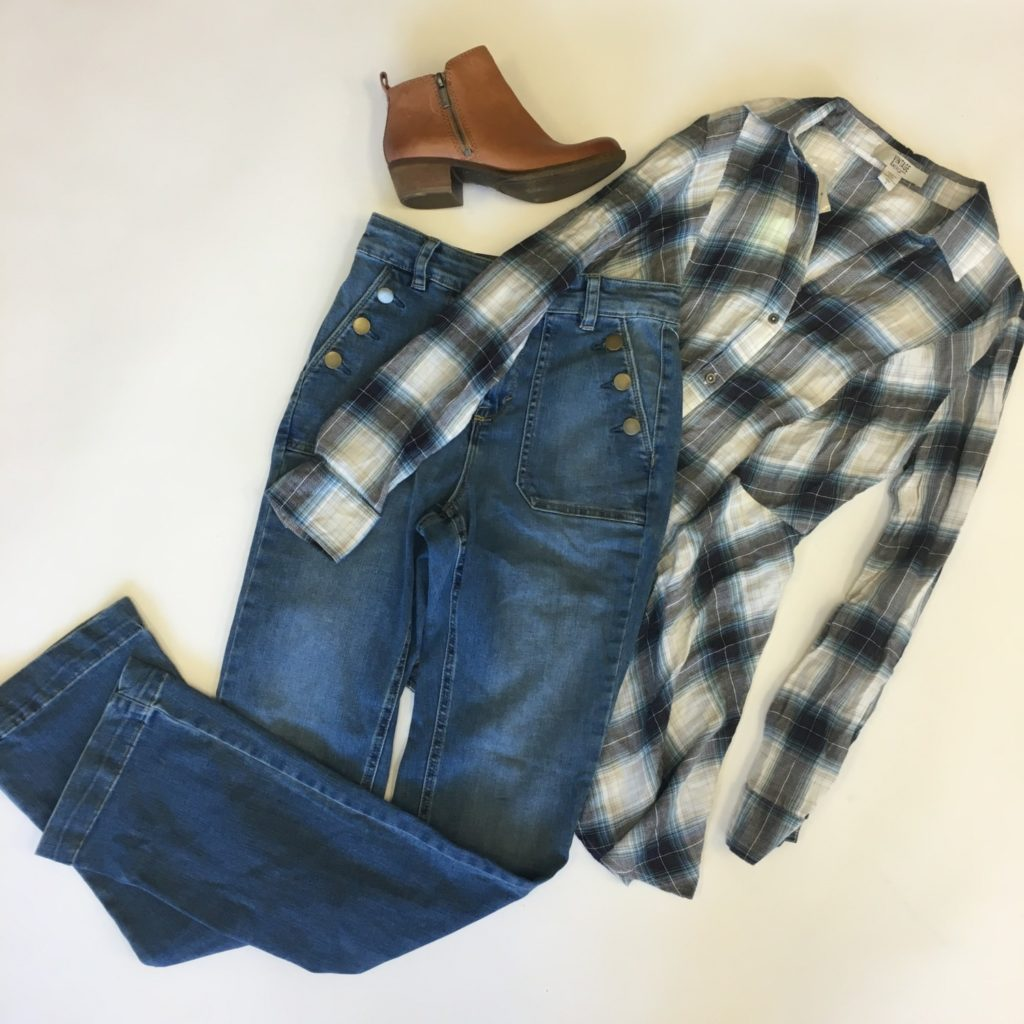 Vintage America top, S, $69.50, $15, Style & co jeans, 4, $54, $15, Lucky Brand booties, 5, $129, $46