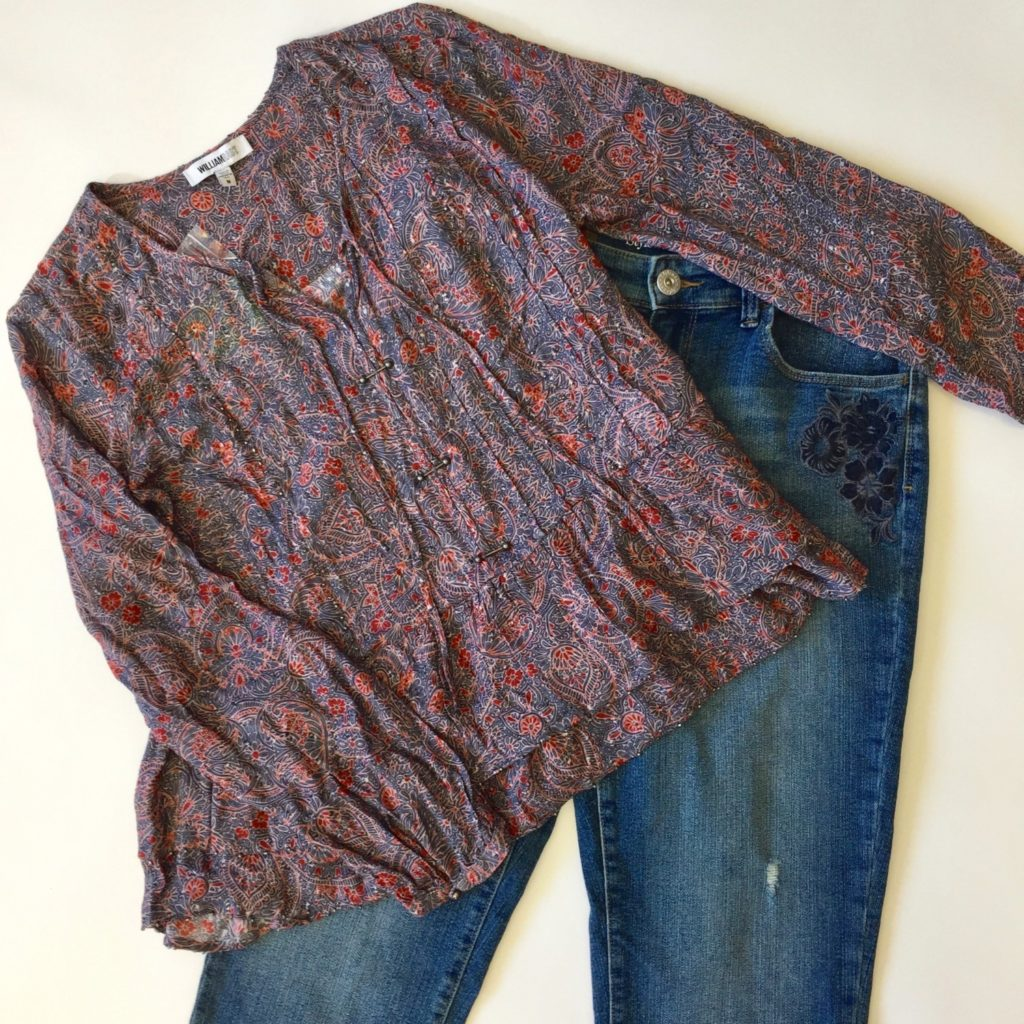 William Rast top, M, $89, $20, Style & Co jeans, 8, $59.50, $15