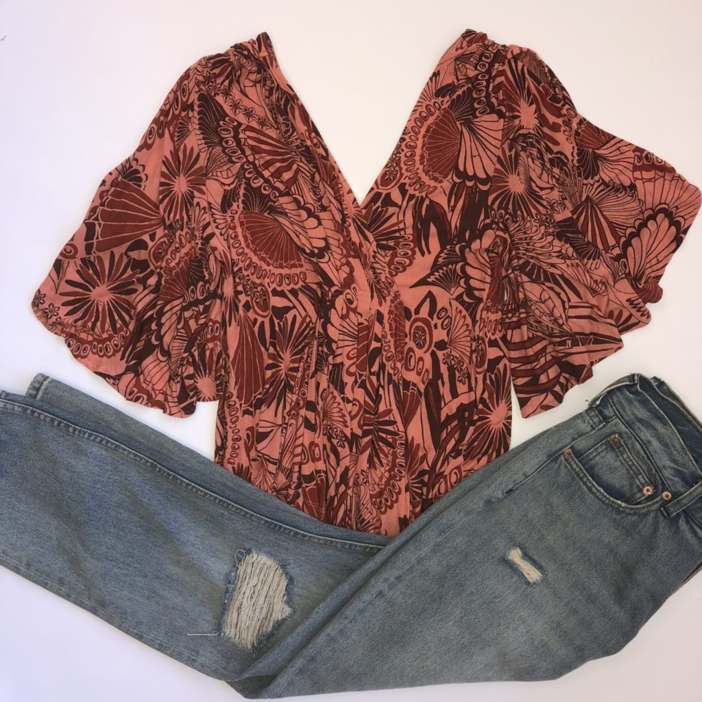 Free People jeans, 30, $120, $28, $14, Free People top, S, $88, $20, $10