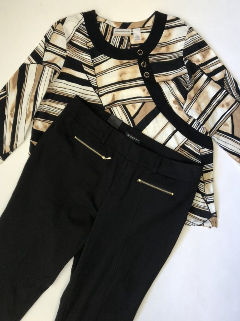 INC pants, 16W, $79.50, $20, $10, Alfred Dunner, 1X, $60, $15, $7.50