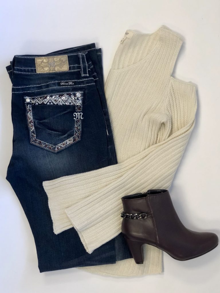 Style & Co Sweater, XS, $59, $15, $7.50, Miss Me Jeans, 34, $89, $20, $10, Easy Spirit booties, 6, $129, $46, $17.25