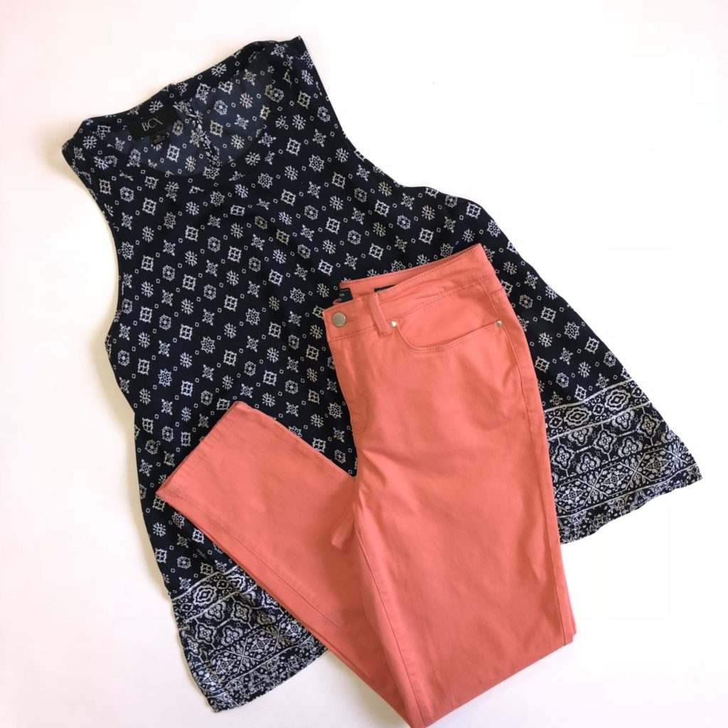 BCX top, XL, $39, $12, Charter Club pants, 4, $59.50, $15 (1)