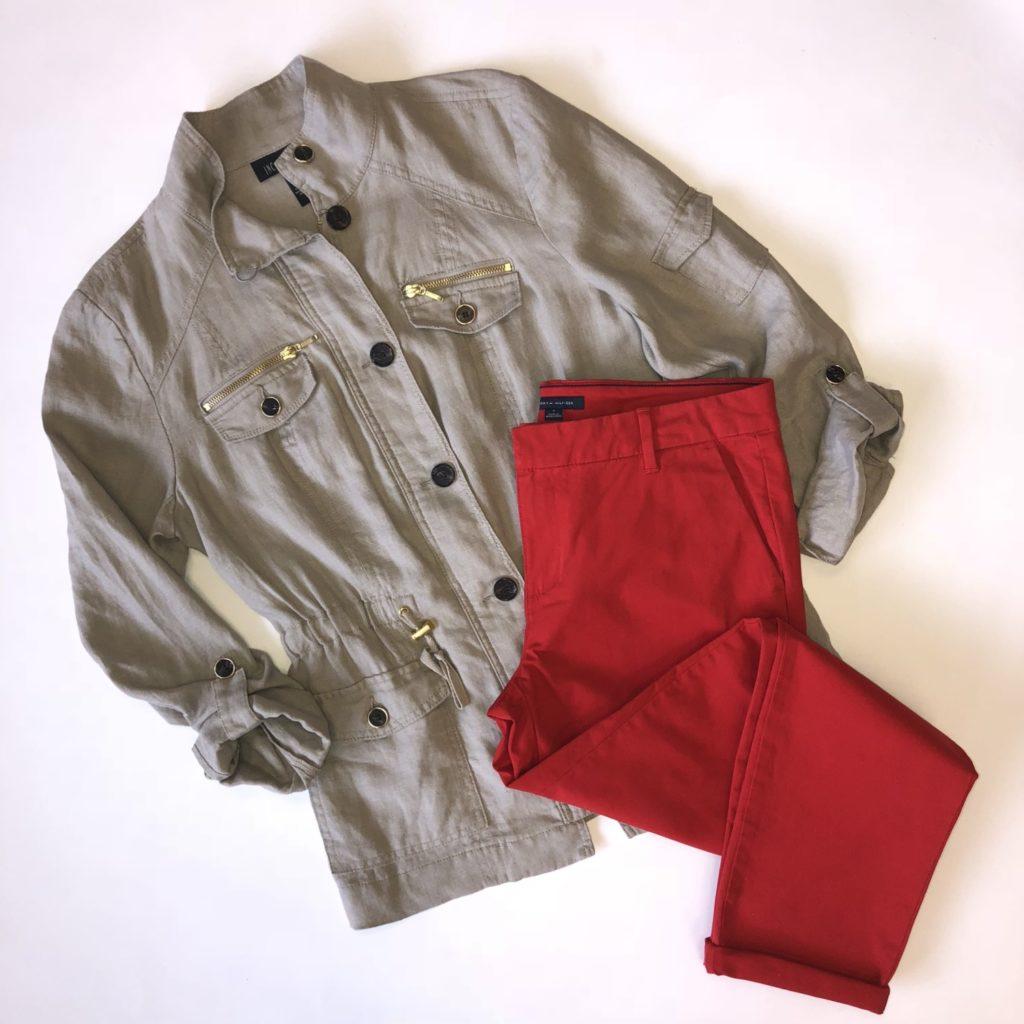 INC jacket, M, $119.50, $28, Tommy Hilfiger pants, 6, $59.50, $15
