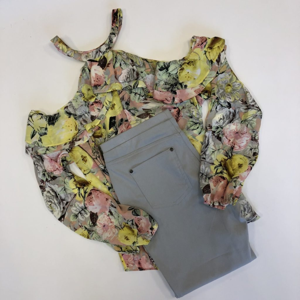INC top, L, $69.50, $15, Style & Co pants, M, $36.50, $12