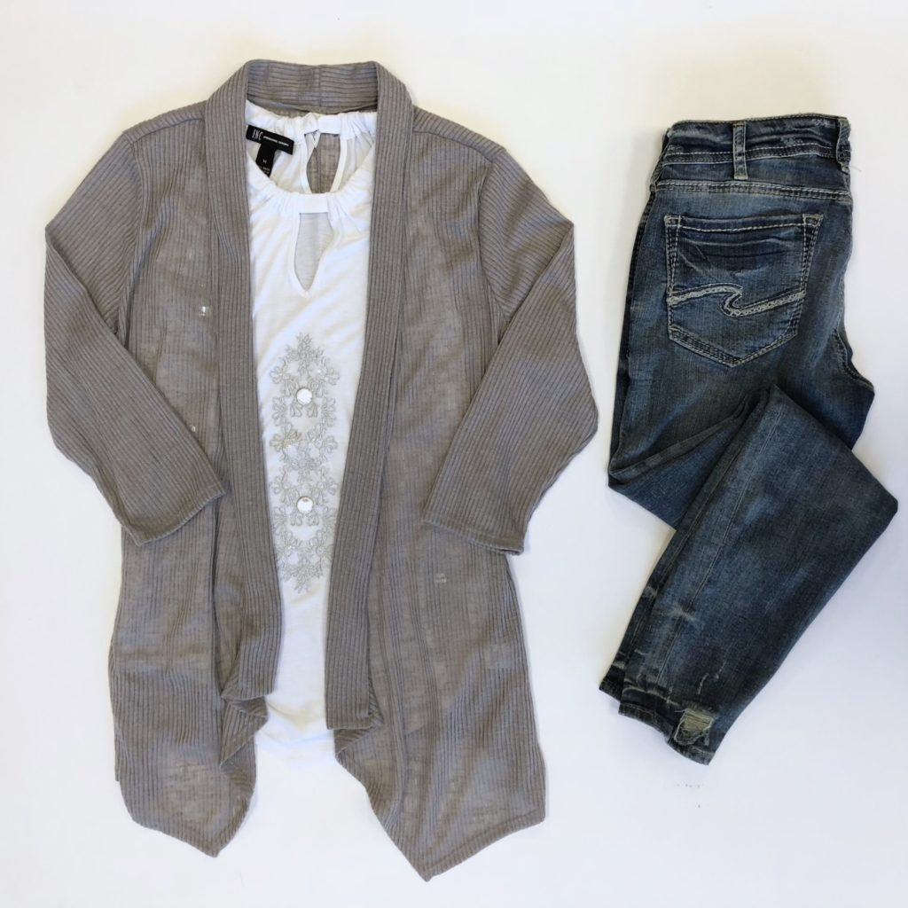 INC top, M, $69.50, $15, NY Collection sweater, L, $50, $15, Silver jeans, 30, $99, $20