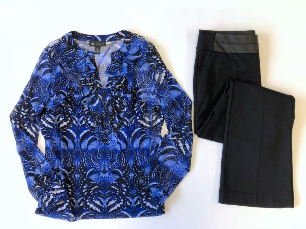 INC top, XL, $59.50, $15, Alfani pants, 10, $69.50, $15 (1)