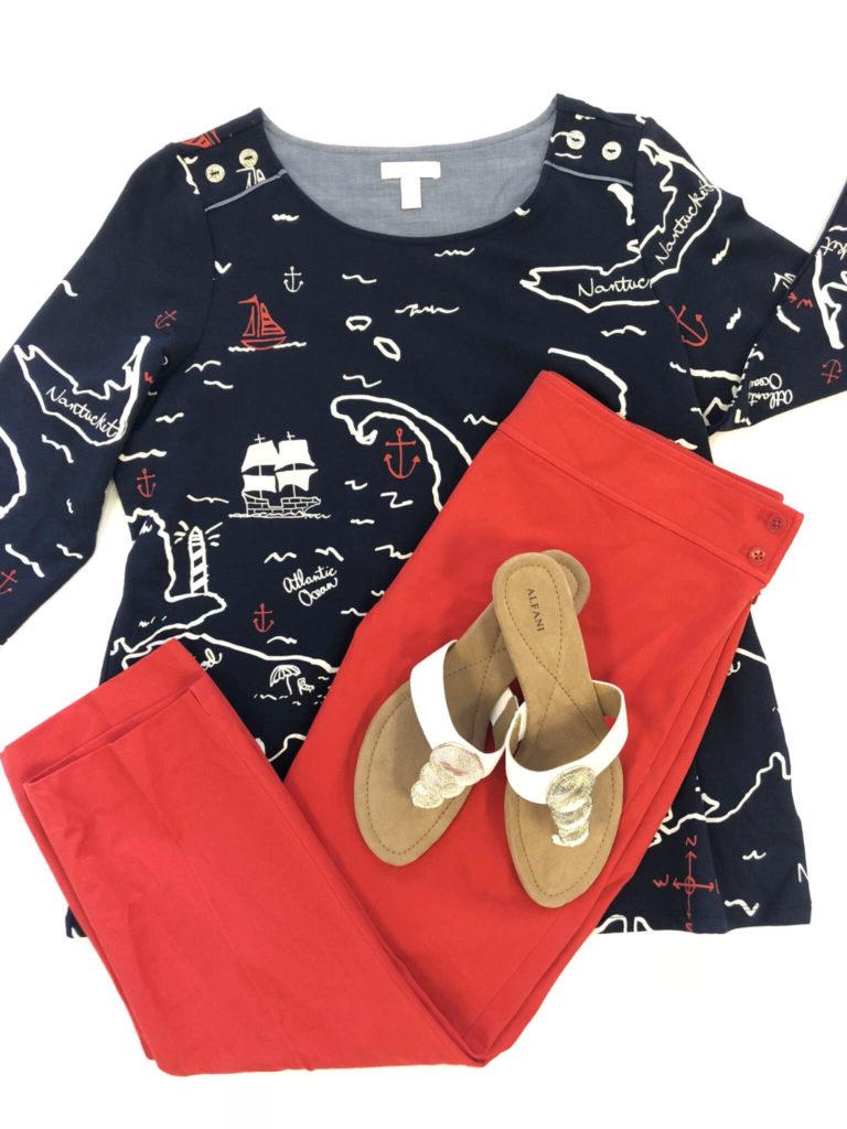 Ralph Lauren pants, Charter Club Top, Alfani Shoes
